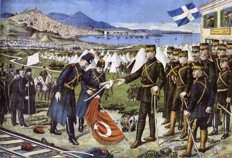 Турците им го предаваат Солун на Грците, 1912.