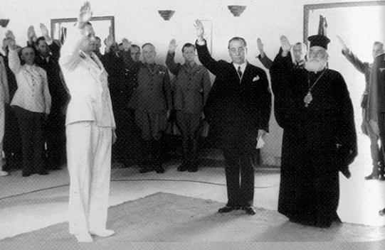 Митрополитот Агатангелос Ксирухакис со наци поздрав.