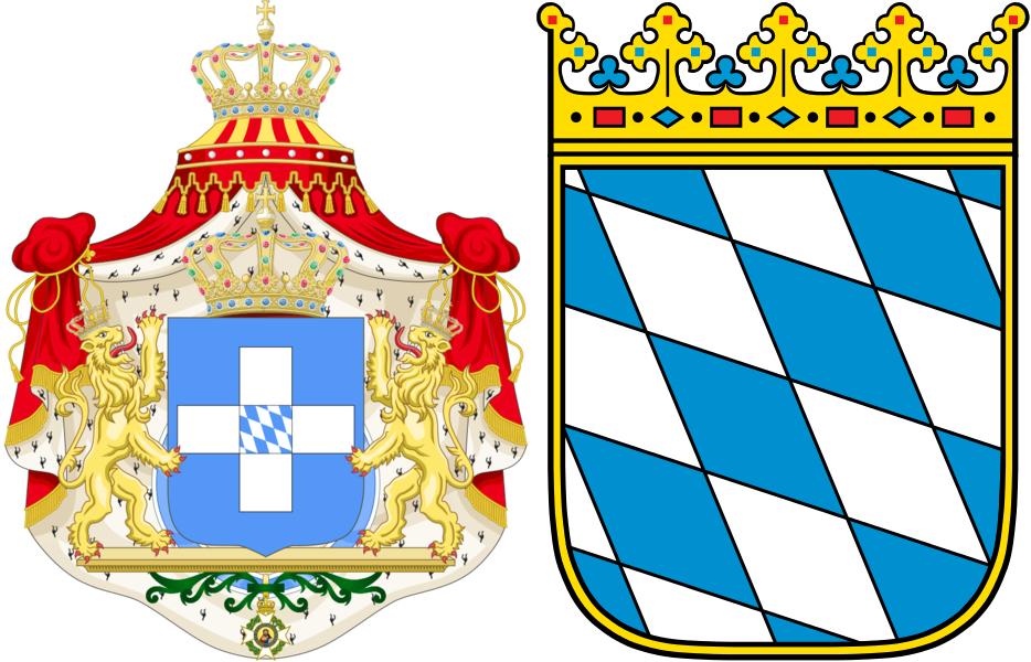 Лево: првиот грб на Грција со баварски симбол во средина. Десно: Баварија.