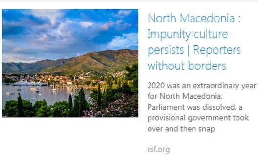 Репортери без граници: Културата на неказнивост продолжува во Mакедонија