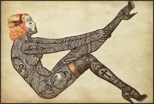 Уметничко тетовирање на познатите свети слики плакати