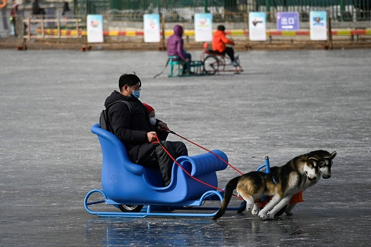 На санка, со синот во Пекинг