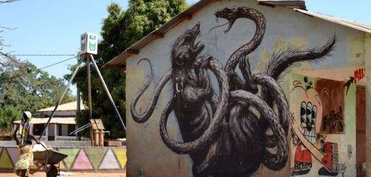 Село во Гамбија трансформирано од графити